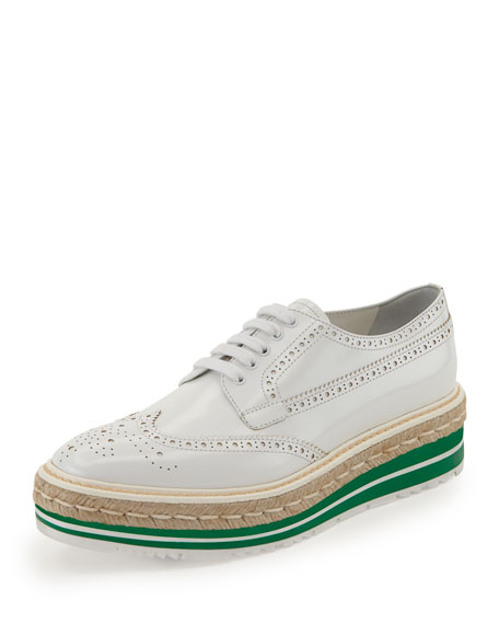 Prada Platform Brogue-Trim Leather Oxford, White (Bianco)