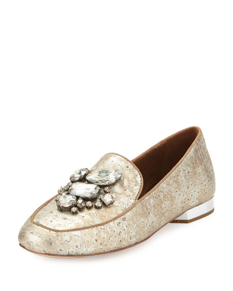 Donald J Pliner Helenesp Snake-Embossed Jeweled Loafer, Platino