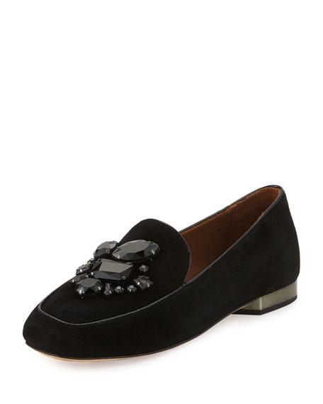 Donald J Pliner Helenesp Suede Jeweled Loafer, Black