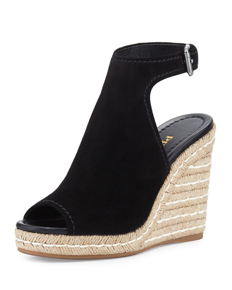 Prada Suede Open-Toe Espadrille Glove Sandal, Black (Nero)