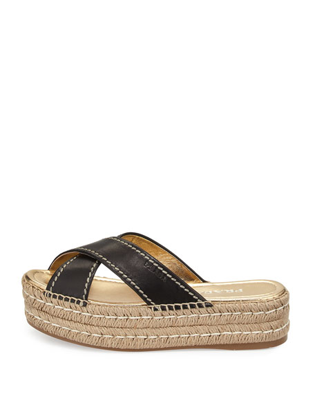 Leather Crisscross Espadrille Slide Sandal