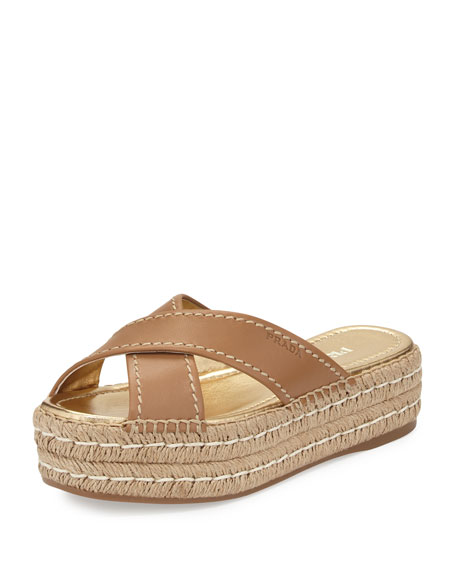 Prada Leather Crisscross Espadrille Slide Sandal, Naturale