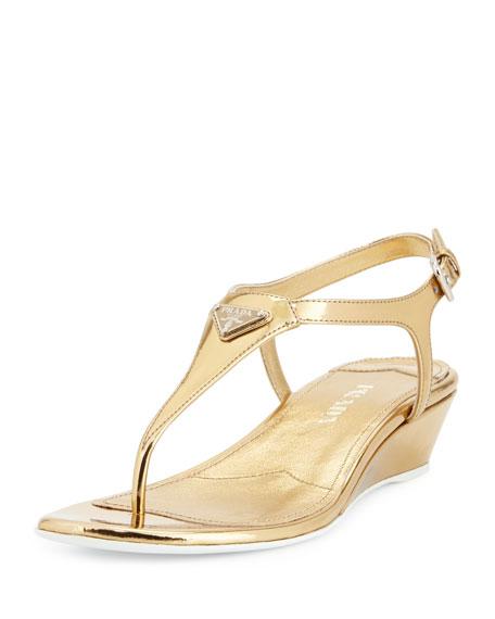 Prada Patent Demi-Wedge Thong Sandal, Platino