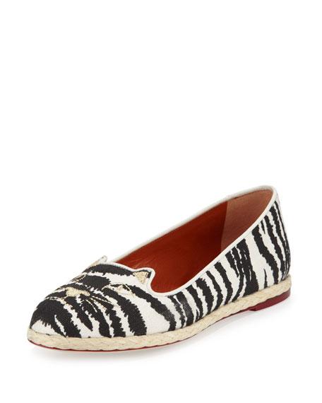 Charlotte Olympia Capri Cats Zebra-Print Espadrille Flat, Zebra