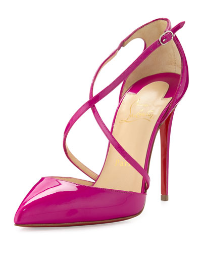 Cross Blake 100mm Patent Red Sole Pump, Indian Rose