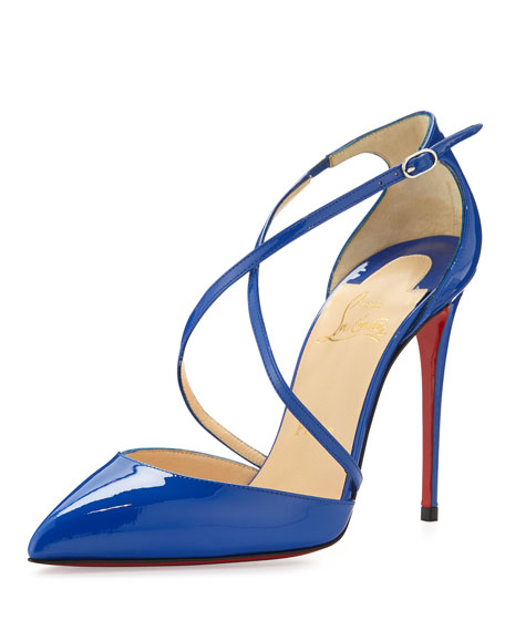 Christian Louboutin Cross Blake 100mm Patent Red Sole Pump, Electric
