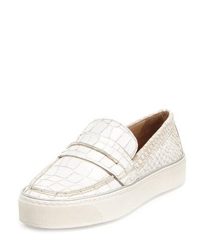 Lounge Crocodile-Embossed Loafer Sneaker, Ivory