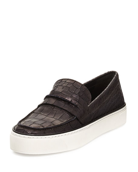 Stuart Weitzman Lounge Crocodile-Embossed Loafer Sneaker, Black