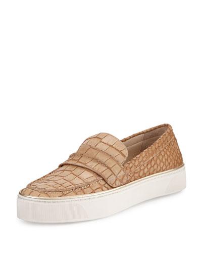 Lounge Crocodile-Embossed Loafer Sneaker, Sand
