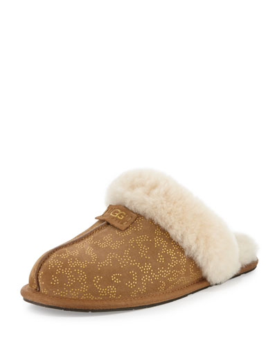Scufette Shearling Metallic Slide Slipper, Chestnut