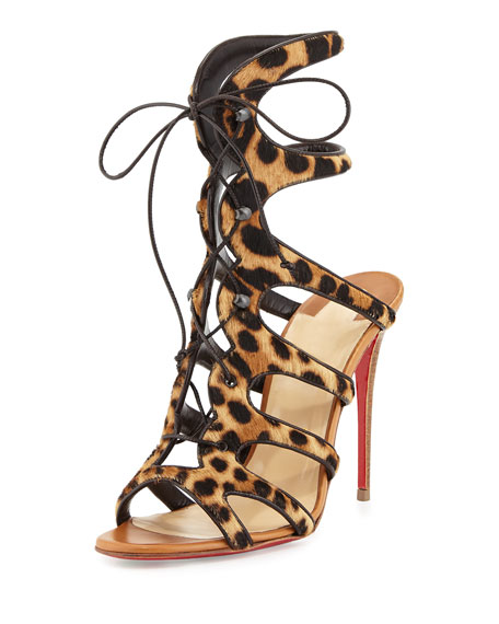 Christian Louboutin Amazoulo Caged Calf-Hair Red Sole Sandal,
