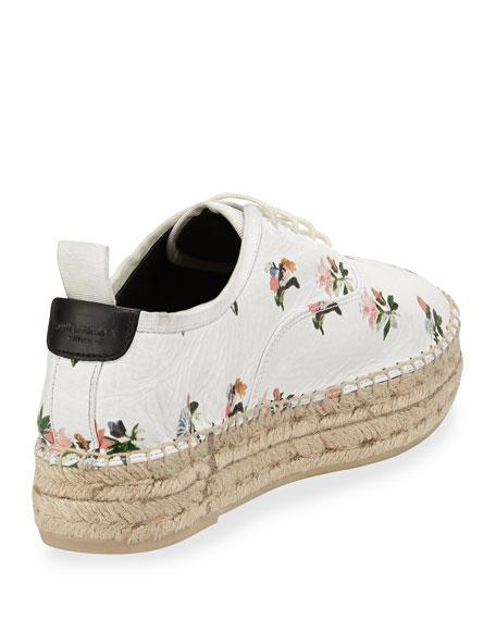 Grunge Floral-Print Espadrille Sneaker, Blanc/Multi