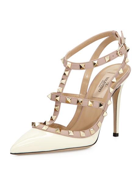 ValentinoRockstud Patent Sandal, Ivory