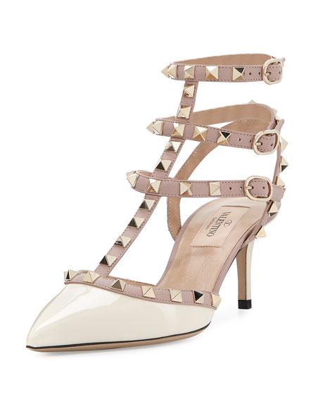 Valentino Rockstud Patent Leather Mid-Heel Slingback, Ivory/Poudre