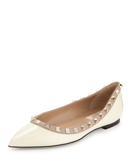 Valentino Rockstud Patent Ballerina Flat, Ivory/Poudre