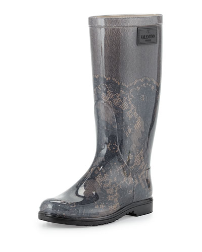 Lace-Print Rain Boot, Blush