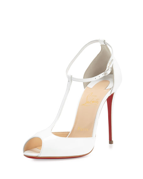 Christian Louboutin Senora Patent 100mm Red Sole T-Strap
