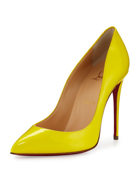 Christian Louboutin Pigalle Follies Patent 100mm Red Sole Pump, Sun