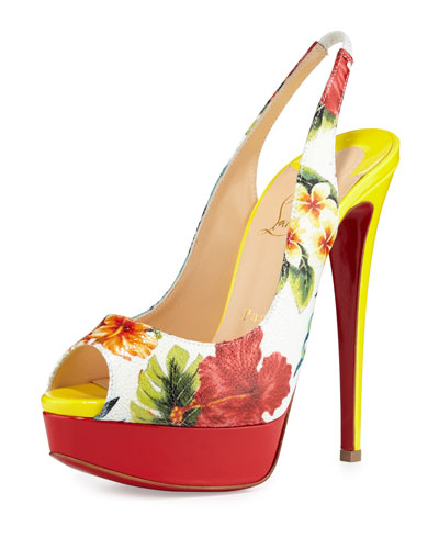 Lady Hawaiian-Print Slingback Red Sole Pump, White/Multi