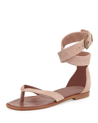 Manolo Blahnik Zolia Ankle-Wrap Flat Thong Sandal, Mauve