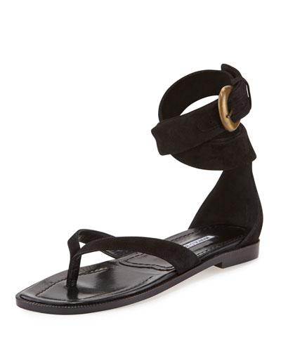 Zolia Ankle-Wrap Flat Sandal, Black