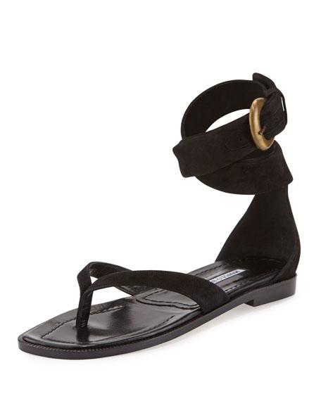 Manolo Blahnik Zolia Ankle-Wrap Flat Sandal, Black