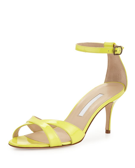 Manolo Blahnik Callre Crisscross Patent 70mm Sandal, Yellow