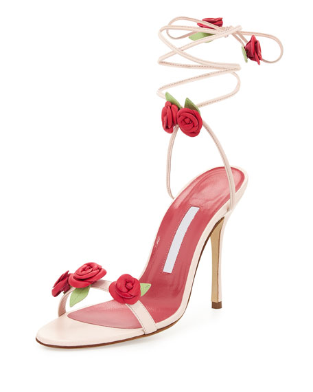 Manolo Blahnik Xiafore Rose Ankle-Wrap Sandal, Pink/Red