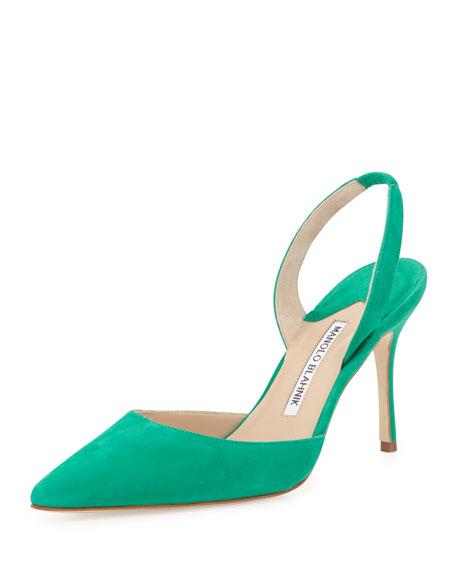 Manolo Blahnik Carolyne High-Heel Suede Halter Pump, Green