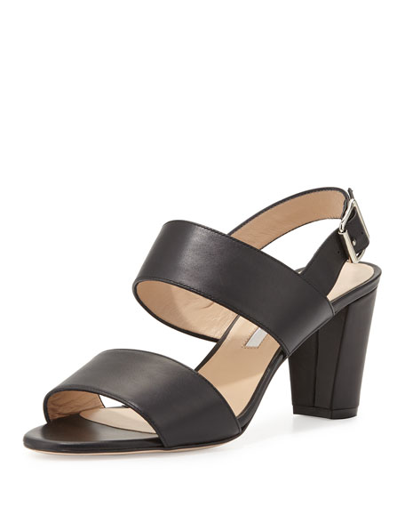 Manolo Blahnik Khan Leather Double-Band Sandal, Black