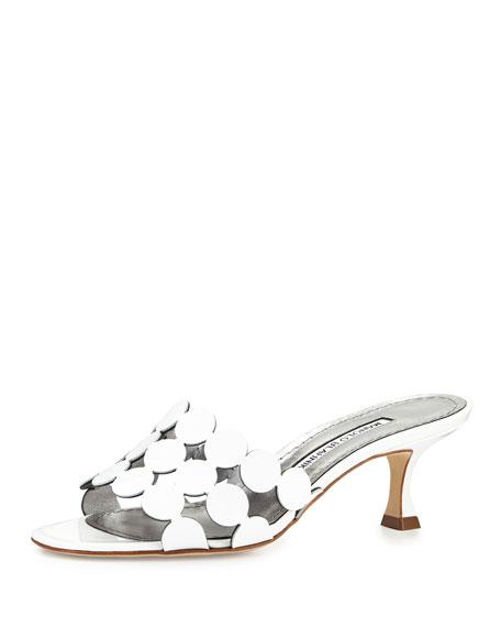 Manolo Blahnik Velia Circle Slide Sandal, White