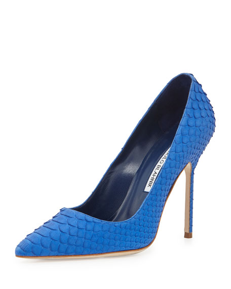 Manolo Blahnik BB Python 105mm-Heel Pump, Blue
