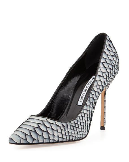 Manolo Blahnik BB Python 105mm Pump, Gray