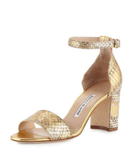 Manolo Blahnik Lauratomod Snakeskin Ankle-Wrap Sandal, Gold