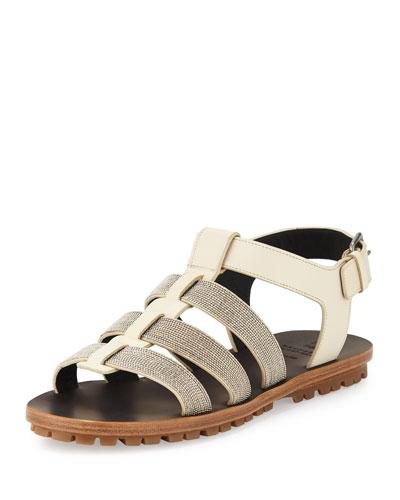 Monili Gladiator Flat Sandal, Oat