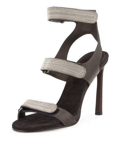 Monilli Triple-Strap High-Heel Sandal, Onyx