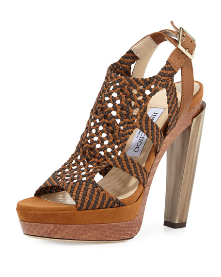 Jimmy Choo Taytum 130mm Braided Platform Sandal, Canyon Mix