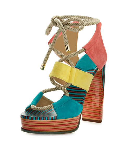 Jimmy Choo Halley 120mm Multicolor Rope Sandal, Malibu/Buttercup/Coral Pink