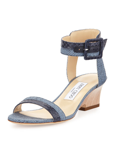 Jimmy Choo Mansy 50mm Raffia Ankle-Wrap Sandal, Navy