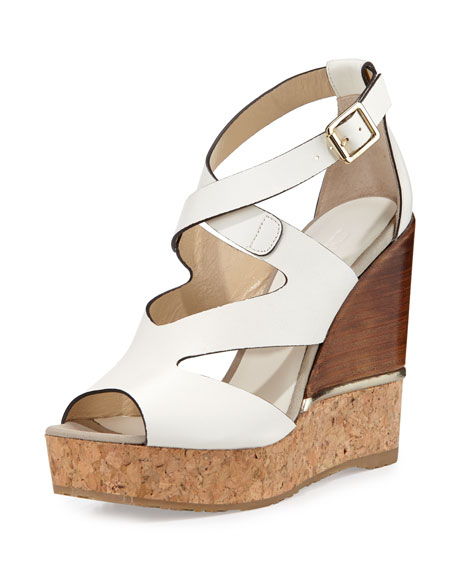 Jimmy Choo Nate 120mm Crisscross Wedge Sandals, Latte