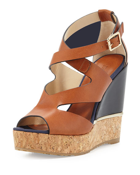 Jimmy Choo Nate 120mm Crisscross Wedge Sandal, Canyon Mix