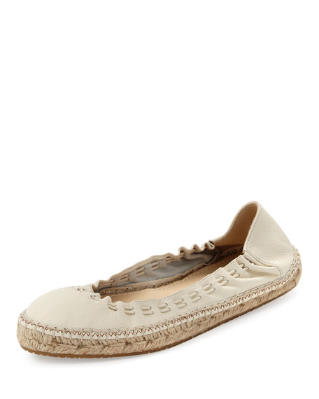 Jimmy Choo Deena Stretch Leather Espadrille-Style Ballerina Flat,