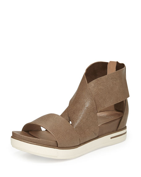 Eileen Fisher Sport Wide-Strap Metallic Sandal, Bronze