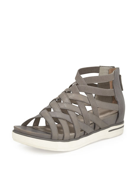 Eileen Fisher Airy Caged Leather Sneaker, Graphite