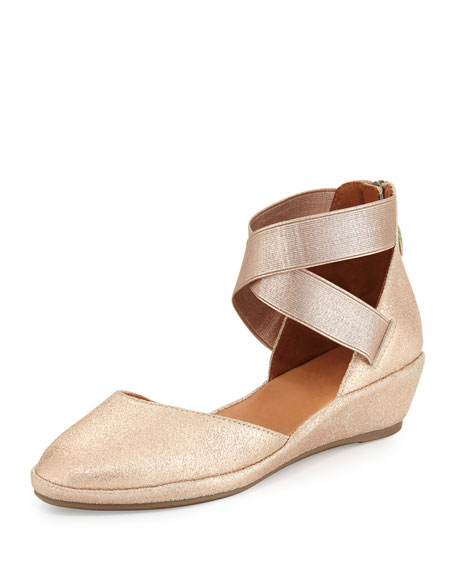 Gentle Souls Noa Leather d'Orsay Wedge, Rose Gold