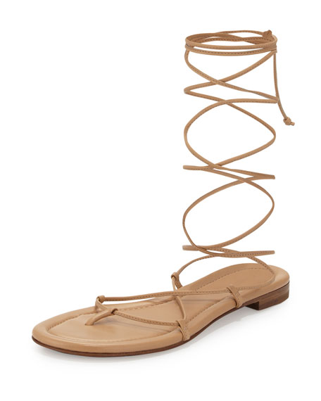 Michael Kors Collection Bradshaw Lace-Up Gladiator Sandal, Toffee