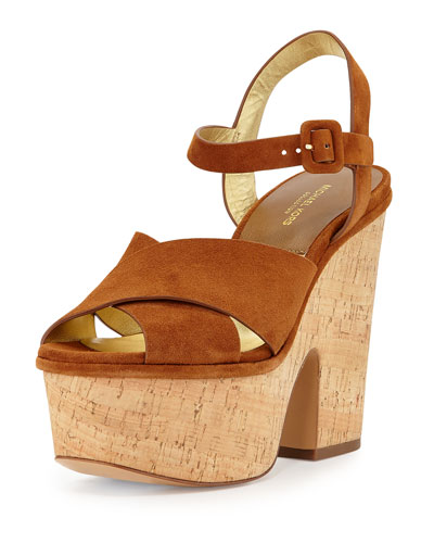 Hilary Suede Platform Sandal, Dark Luggage