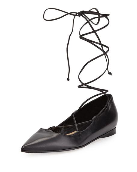 Michael Kors Kallie Leather Lace-Up Flat, Black