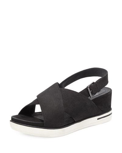 Good Crisscross Wedge Sandal, Black