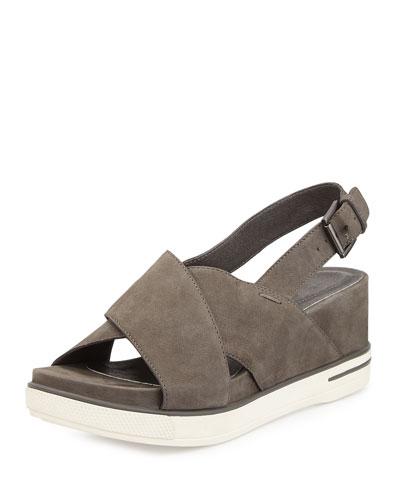 Good Crisscross Wedge Sandal, Graphite